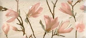 Плитка настенная керамическая декоративная облицовочная Декор Легенда Магнолия 2 366762 20x45см, глянцевая, бежевая с рисунком
