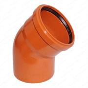 Отвод канализационный 160мм 45 градусов, наружный, с кольцом, оранжевый