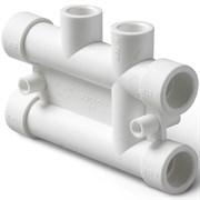 Распределительный блок для систем отопления 25-20мм, полипропиленовый, белый