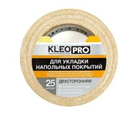 Лента/скотч KLEO PRO для укладки напольных покрытий, 38ммx25м, клейкая, двусторонняя, на тканевой основе, белая