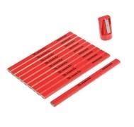 Набор карандашей малярных Matrix, 175мм, прямоугольные с точилкой в тубе, 10шт.