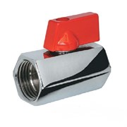 Кран-мини шаровый 15мм (1/2 дюйма), гайка-гайка, внутренняя резьба, ручка флажок, латунный