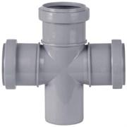 Крестовина канализационная одноплоскостная, 50/50/50, угол 87 градусов, полипропиленовая, серая