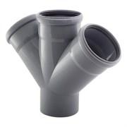 Крестовина канализационная одноплоскостная, 50/50/50, угол 45 градусов, полипропиленовая, серая