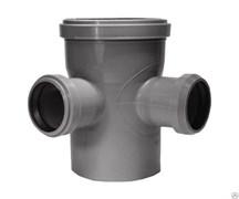 Крестовина канализационная одноплоскостная,  110/50/50, угол 87 градусов, полипропиленовая, серая