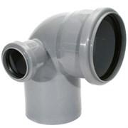 Отвод канализационный 110x50мм 90 градусов, левый, внутренний, полипропиленовый, серый