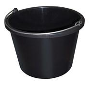 Ведро строительное, 12л, круглое, пластмассовое, черное