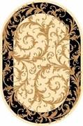 Ковёр коллекции OLYMPOS d156 0.6x1.1м OVAL-CREAM-BLACK, овальный, кремово-черный с рисунком