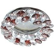 Светильный встраиваемый Ecola CD4141 MR16 GU5.3, 50x90мм, круглый с хрусталиками, прозрачный и дымчатый кварц, хром, FB1617EFY