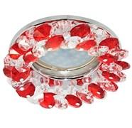 Светильный встраиваемый Ecola CD4141 MR16 GU5.3, 50x90мм, круглый с хрусталиками, прозрачный и рубин, хром, FR1618EFY