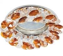 Светильный встраиваемый Ecola CD4141 MR16 GU5.3, 50x90мм, круглый с хрусталиками, прозрачный и янтарь, хром, FO1618EFY