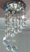 Светильник встраиваемый Ecola CR1010 MR16 GU5.3, 84x290мм, круглый, Хрустальная нить, прозрачный, хром, FS16RVECB