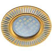 Светильник встраиваемый Ecola DL3182 MR16 GU5.3, 23x78мм, литой, матовый, рифленые реснички по кругу, золото, алюм, FG1608EFF