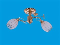 Люстра подвесная 2-рожковая 0086A/2FGD WT, диаметр 550мм, 2x40W, золото/белый
