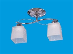 Люстра подвесная 2-рожковая 01616/2B CR WT, диаметр 330мм, 2x40W, хром, белый матовый