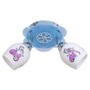 Люстра подвесная 2-рожковая 4239/2CR+BL WT, длина 440мм, 2x40W, хром/голубой, белый/цветной, детский рисунок