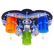 Люстра подвесная LED-встроенная 8369/3+1WT+CR RC MIX(RBP)LED, диаметр 450мм, 3x40W+1x3W, черный/хром, цветной