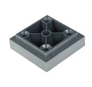 Опора/ножка мебельная, высота 20мм+8мм, регулируемая, квадратная, пластиковая, матовый хром