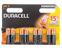 Батарейка алкалиновая Duracell LR6-8BL BASIC, AA, 1.5В, C0037387, блистер 8 шт., цена за 1 шт.