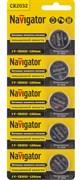 Батарейка литиевая Navigator NBT-CR2032-BP5/94 765, диаметр 20мм, плоская, круглая