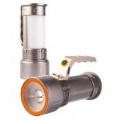 Фонарь-прожектор Облик 8222, Т6 LED 10W (600lm), 2хLi-Ion. 3.7В, светодиодный, зарядное устройство 220В, авто зарядное устройство 12В, 3 режима, серебро