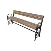 Скамейка уличная С-4/2, 400x900x2000мм, с фигурными подлокотниками, дерево/металл