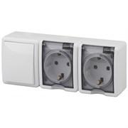 Блок комбинированный ЭРА Эксперт 11-7403-01 (выключатель - 2 розетки с заземлением), IР54, 10-16A, 250В, белый