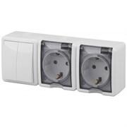 Блок комбинированный ЭРА Эксперт 11-7404-01 (выключатель двойной + 2 розетки с заземлением), IР54, 10-16A, 250В, белый