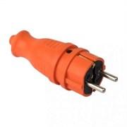 Вилка EKF RPS-011-16-230-44-ro, 2P+PE, 16A, IP44, прямая, каучуковая, оранжевая
