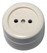 Розетка одноместная ОП Макел 16012, 16А, IP20, без заземления, открытой проводки, круглая, белая