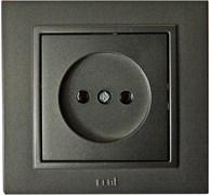Розетка одноместная СП Zena Led 500-011100-215, 16А, IP20, без заземления, скрытой проводки, дымчатый