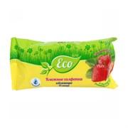 Влажные салфетки ECO LINE Клубника 78341, 15шт в упаковке