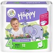 Подгузники гигиенические для детей BABY HAPPY MAXI 4, 8-12кг, 12шт