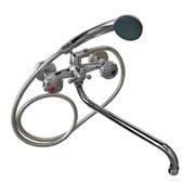 Смеситель в ванную 36012 САТУРН, длинный нос, двуручный, металлокерамика с шаровым переключением