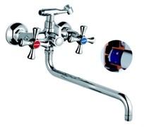 Смеситель для ванны 5883F RAINSBERG, двуручный, длинный поворотный излив