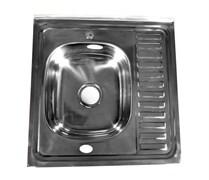 Мойка кухонная накладная FABIA 62272, 600х600x160мм, левая, с большим сифоном, с переливом, нержавеющая сталь