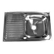 Мойка кухонная накладная FABIA 62274R, 800х500x160мм, правая, с большим сифоном, с переливом, нержавеющая сталь