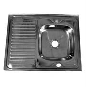 Мойка кухонная накладная FABIA 62275R, 800х600x160мм, правая, с большим сифоном, с переливом, нержавеющая сталь