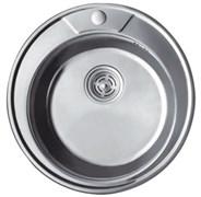 Мойка кухонная врезная Haiba HB S490-06, 490x160мм, круглая, нержавеющая сталь, матовая