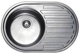 Мойка кухонная врезная Haiba HB S5077-06, 770x500x180мм, овальная, нержавеющая сталь, матовая