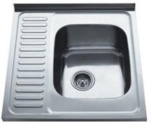 Мойка кухонная накладная Haiba HB S6060-06, 600х600х160мм, квадратная, с левым крылом, нержавеющая сталь, матовая