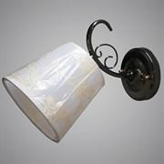 Светильник настенный/бра 31947/1W FGD+BK, высота 230мм, 1х40W, E27, черный/золото, белый абажур