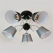 Люстра подвесная 5-рожковая 70218/5 CR+BK LNGSH19, диаметр 600мм, 5х40W, E27, хром+черный/белый абажур