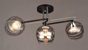 Люстра подвесная 3-рожковая C1042/3 BK+CR, диаметр 605мм, высота 240мм, 3х60W, E27, чёрный/хром