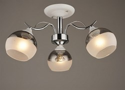 Люстра подвесная 3-рожковая C1268/3 WT+CR, диаметр 575мм, 3х60W, E27, белый/хром
