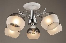 Люстра подвесная 5-рожковая C1268/5 WT+CR, диаметр 575мм, 5х60W, E27, белый/хром