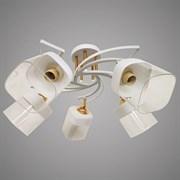 Люстра подвесная 5-рожковая D2201/5E FGD+WH XLD19, диамер 520мм, 5х60W, E27, белый/золото