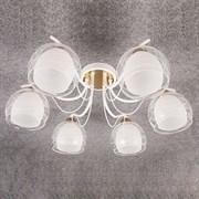 Люстра подвесная 6-рожковая STD15135/6 WT+FG ST18, диаметр 630мм, высота 220мм, 6х60W, E27, белый/золото