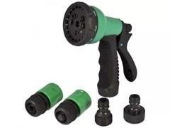 Набор для системы полива Silo, 5 предметов: пистолет восьмирежимный, коннектор 3/4дюйма -2шт, соединитель штуцерный, пластиковый