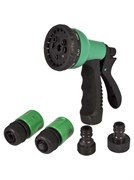 Набор поливочный PARK HL167, 9 режимов, набор 5 предметов: пистолет-распылитель, соединитель 1/2дюйма с акваспотом, соединитель 1/2дюйма, адаптеры 3/4дюйма с внутренней и внешней резьбой, пластиковый